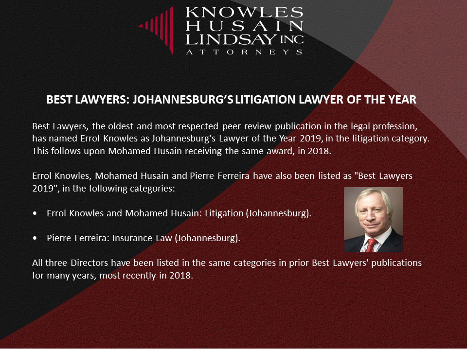 BEST LAWYERS: JOHANNESBURG'S LITIGATION LAWYER OF THE YEAR